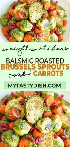 Balsamic Roasted Brussels Sprouts and Carrots - Golden brown, crisp brussels sprouts and carrots tossed in balsamic vinegar and maple . Radish Recipes, Sprout Recipes, Carrot Recipes, Ww Recipes, Veggie Recipes, Vegetarian Recipes, Cooking Recipes, Healthy Recipes, Salads