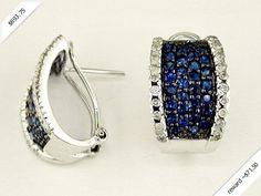 Women's Diamond & Sapphire Earring in 14K White Gold (2.08 ctw)