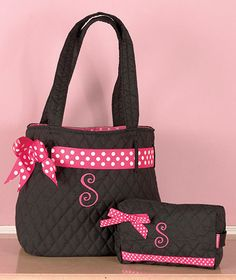 2-Pc. Quilted Monogram Tote Sets | LTD Commodities