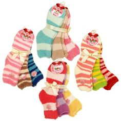 Soft Solid & Striped Winter Fuzzy Plush Socks - 3 Pairs Set (Size 9-11), Different Colors Available $6.99