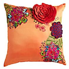 Orange Embroidered Floral Pillow $22.38