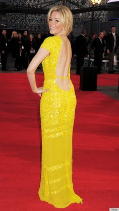 I love this bright yellow dress! This is Elizabeth Banks at the recent Hunger Games film premiere.