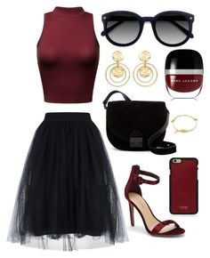 """""""Burgundy Bundle"""" by lynnvilla ❤ liked on Polyvore featuring Saks Fifth Avenue, Loeffler Randall, Vianel, Kenneth Jay Lane, Ace and Marc Jacobs"""