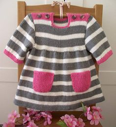 Ravelry: Happy Day Baby Dress pattern by Lilia Vanini - Kinder Kleidung Baby Knitting Patterns, Knitting For Kids, Baby Patterns, Dress Patterns, Coat Patterns, Clothes Patterns, Knitting Ideas, Sewing Patterns, Crochet Baby