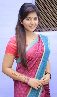 "Tamil heroine Anjali latest sarees in ""Mapla singam"" tamil movie. She is beautiful in bridal silk saree, half saree and printed sarees. Indian Natural Beauty, Indian Beauty Saree, Indian Sarees, Beautiful Girl Indian, Most Beautiful Indian Actress, Beautiful Saree, Cute Beauty, Beauty Full Girl, Beauty Women"