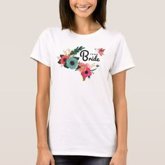 Team Bride. Floral Bachelorette Party T-Shirts