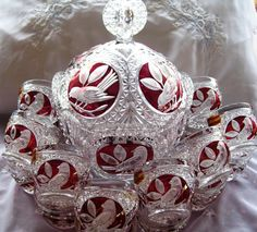 Porcelain And China Marks Punch Bowl Set, Porcelain Jewelry, Porcelain Ceramics, Cranberry Glass, Bird Design, Ceramic Painting, Ruby Red, Glass Art, Hand Painted
