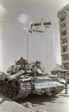 An IDF Magach 6B in front of Le Vendôme Hotel during Shlom HaGalil Operation in 1982.
