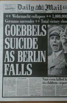 Goebbels suicide as Berlin falls May 3nd 1945 newspaper reprint WW2