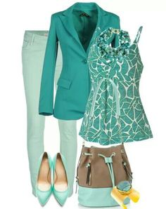 Mint green for fall - maybe dark straight denim in place of these green ones, with a pair of natural colored flats. And, maybe a white 3/4 length sleeve, more feminine jacket. And, some pretty, delicate silver jewelry. I know that I've taken this outfit all apart, but this changes are just what I would wear. Thank you!!! :D