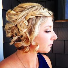curly blonde bob with a braid for prom