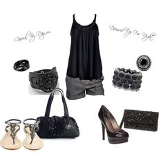 Black tank with pearl trim. Matching jewelry and evening bag, Gray dressy shorts, Navy jeweled sandals.