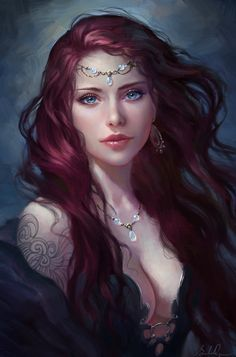 """""""Sister of the Night"""" by Selenada. 1.The eyes look hauntingly real. Was any dark magic involved in this project? 2.Simply captivating! The luminous eyes and skin tones only add to the wonderful effects. 3.Will you marry me? Oh, wait, it's just a painting, sorry, got confused."""
