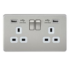 Knightsbridge Screwless SF9902BCW Brushed Chrome 2 Gang 13A Switched Socket with Dual USB Charger - White Inserts at UK Electrical Supplies.