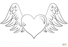 how to draw a heart with wings step 7 draw u003c3 pinterest rh pinterest com heart with wings drawings step by step heart with wings and crown drawing
