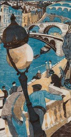 Lill Tschudi (1911-2004) - Le Long des Quais, linocut printed in colours, 1949,