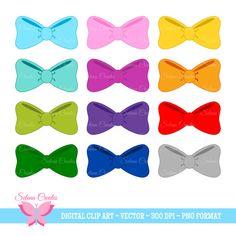 Hair Bow Clipart Set Digital Clipart Bows Bow Tie by SelenaCreates
