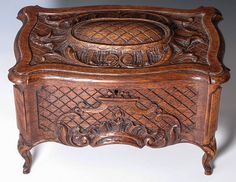 Antique Doll or Bru Sized Hand Carved French Miniature Blanket Chest