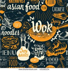 Seamless background with wok food symbols. Menu pattern. Vector Illustration of funny lettering and labels. Decorative elements for your packing design. Multicolor decor.