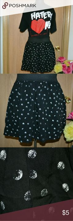 5 FOR $25! Material girl black skirt Smoke free home! Bundle and save!   A super cute black and white polka dotted skirt by the brand material girl size large. Body: 100% Rayon Lining : Acetate INVENTORY-C BIN Material Girl Skirts Mini