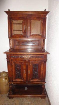 Antiker Bücherschrank Vitrinenschrank Nussbaum 18 Jahrhundert