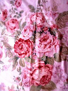 Vintage Duvet Pale Pink w Roses 68 x 84 Full / by Myshop1020