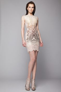 Short fitted Greige Lace dress with Glossy Satin floral applique and bateau neckline.