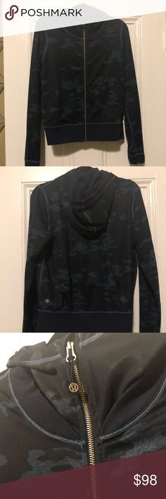 Lululemon camo jacket Dark blue camouflage pattern jacket, in great condition. The colors look a little different in my photos since they were taken at night, in person it is the same as the first picture. lululemon athletica Jackets & Coats
