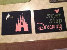 Painted two Disney-inspired canvases to put above my bed... When I can afford to buy one :)