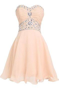 Lovely Short Beading Chiffon Strapless Cute Homecoming Dresses For Teens K278