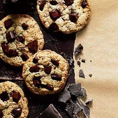 Dark Chocolate Chunk Cookies | MyRecipes.com--sub 1/2 cup hazelnut or almond flour for 1/2 cup regular flour.
