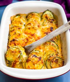 Zucchini Side Dishes, Low Carb Side Dishes, Healthy Side Dishes, Vegetable Side Dishes, Vegetable Recipes, Healthy Sides, Healthy Foods, Zucchini Au Gratin, Zucchini Casserole