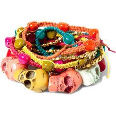 Pull & Bear Pack Of 8 Skull Bracelets ($16) ❤ liked on Polyvore