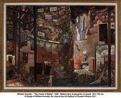 """William Kurelek - """"The Tower of Babel"""", 1954 - Watercolour & gouache"""