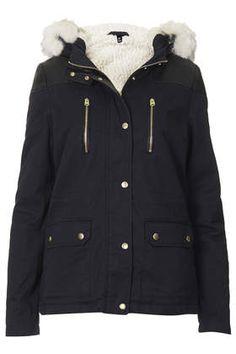 Petite Faux Fur Trim Borg Lined Short Parka Jacket - Topshop