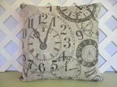 Clocks Pillow Cover in Beige Brown Cream and Black / Clock Pillow / Beige Pillow / Accent Pillow / Decorative Pillow / 18 x 18 Pillow (23.00 USD) by JRsPillowsandBags