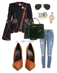 A fashion look from December 2017 featuring navy jackets, distressed skinny jeans and pointed-toe pumps. Browse and shop related looks. Casual Work Outfits, Dope Outfits, Club Outfits, Work Casual, Jean Outfits, Classy Outfits, Fashion Outfits, Girly Outfits, Autumn Winter Fashion
