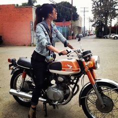 Valerie Vidal and her 1969 Honda CB175.