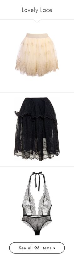 """Lovely Lace"" by thedarkestqueen ❤ liked on Polyvore featuring skirts, lined skirt, elastic waist skirt, cream skirt, elastic waistband skirt, beige skirt, bottoms, black, lace skirt and flare skirt"