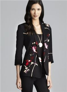 French Connection Cuffed Sleeve Floral Print Jacket (French Connection 225135001), Women's Jackets Casual | Loehmann's