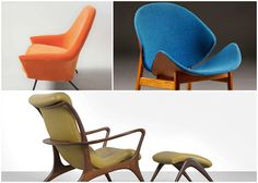 These 3 Mid-century sculptural chairs are an exhibition of individual freedom and creativity. See more, click on the image.