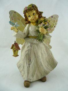 "Flower Fairy Figurine Resin Wood Look By Enchanted Garden 7 1/2""  #EnchantedGarden #Cottage"
