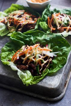 """BANH MI LETTUCE WRAPS - """"The bulk of the ingredients are typically something I have on hand, and the remaining ingredients are pretty cheap to pick up on a whim, making this a meal that's not only inexpensive, but super quick and easy to prepare. Pork Recipes, Asian Recipes, Cooking Recipes, Healthy Recipes, Sandwich Recipes, Healthy Dinners, Easy Meals, Lettuce Wrap Recipes, Lettuce Wraps"""