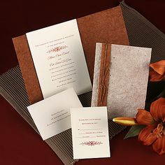 Your choice of motif is featured with your wording on this ecru, non-folding wedding invitation card. A handmade wrap with a speckled taupe outside and copper inside surrounds your invitation. Jute cord sold separately. Single ecru envelopes are included. Envelope liners are not available. Assembly required.