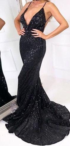 Deep V-neck Black Sequin Mermaid Prom Dresses da3a2ff6c029