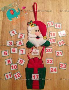 Santa Claus advent calendar door hanger embroidered sign
