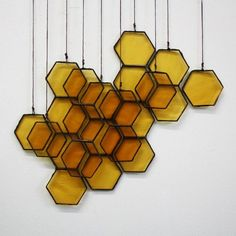 Stained Glass Honeycomb Drops on etsy