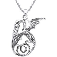 Carolina Glamour Collection Sterling Silver Winged Sea Serpent Dragon... ($40) ❤ liked on Polyvore featuring jewelry, necklaces, white, thin chain necklace, box chain necklace, sterling silver pendant necklace, wing pendant and white pendant necklace