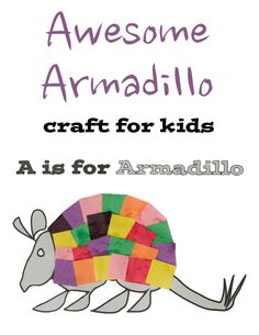 Armadillo Printable Craft for kids - Who doesn't love a cute armadillo? This craft is a great accompaniment for the book Armadilly Chili by Helen Ketteman Animal Crafts For Kids, Toddler Crafts, Preschool Activities, Art For Kids, Craft Kids, Kids Crafts, Pet Craft, Preschool Centers, Daycare Crafts