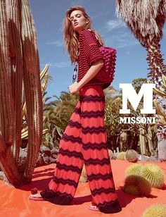 #MMissoni Advertising Campaign | Spring Summer 2015 | Frida Kahlo | Mexico | PAWL-STITCH JACKET AND ZIGZAG PALAZZO PANTS